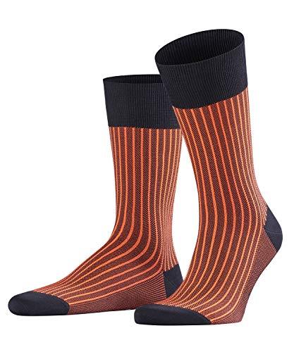 FALKE Herren Socken Oxford Stripe - Baumwollmischung, 1 Paar, Blau (Dark Navy 6377), 45-46 (45-46 (UK 10-11 Ι US 11-12))