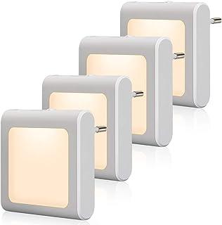 Enchufe con luz nocturna con sensor crepuscular, Emotionlite, 4 unidades, Brillo ajustable, muy bueno para habitación de los niños, escaleras, dormitorio, cocina, luz de orientación, blanco cálido
