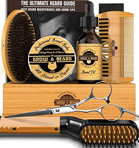 Beard Straightener Grooming Kit, 2oz Beard Growth Oil Unscented, Natural 2oz Beard Balm Leave-in Conditioner, Beard Brush, Beard Comb, & Barber Scissors for Styling, Perfect Gifts for Him, Dad & Husband