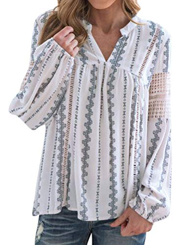 ZXZY Womens Lace Crochet Hollow Out Long Sleeve Bohemian Graphic Blouse Tops White