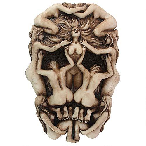 Design Toscano Memento Mori Gothic Death Skull Wall Sculpture, 9 Inch, Antique Bone Finish