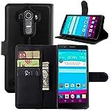 Ultra Slim Flip Bracket Case for LG G4, Premium Soft PU Leather [ Wallet ] Case Cover for LG G4 (Wallet - Black)