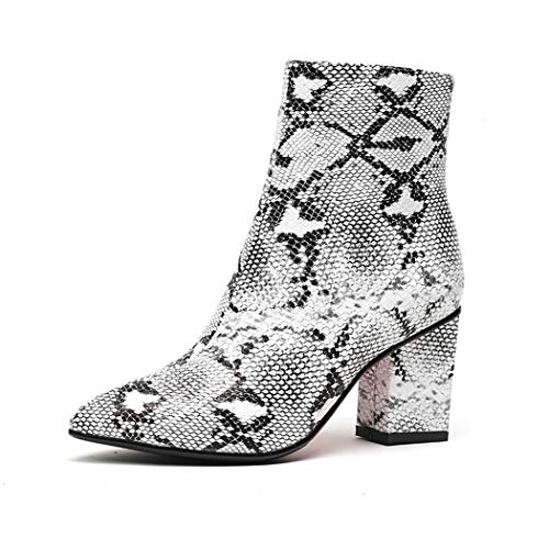 wetkiss Women Snakeskin Booties, Ankle Boots Slip on for Ladies, Snake Print Boots Chunky Block Mid Heels Fashion Shoes