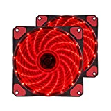 PCケースファン 赤いLEDリングを装着した 超静音 12cmファン 25mm厚 2ヶ入っている ラジエーターファ 12v クリスマス Cyber Monday(レッド)