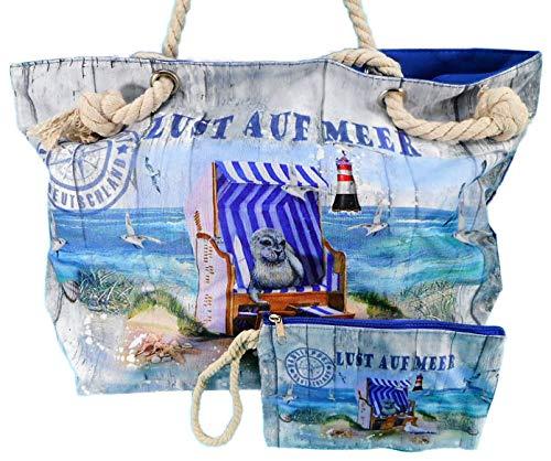 Wilhahn 2er Set Strand Tasche & Kosmetiktasche Lust auf Meer 50 x 30 cm Maritim Leuchtturm Robbe Nautik Post Deko GWH 242659
