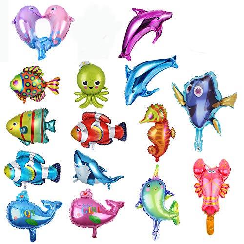 REYOK 16 Stücke Folienballons Fischballons Meerestier Ballons Aluminium Meerestiere Tropische Fische Mylar Ballons Folienballon Tiere Selbstdichtende Party Dekoration Lieferungen
