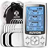 AUVON Dual Channel TENS EMS Unit 24 Modes Muscle Stimulator for Pain Relief & Muscle Strength for Tired and Sore Muscles in Your Shoulders, Back, Ab's, Legs, Knee's and More