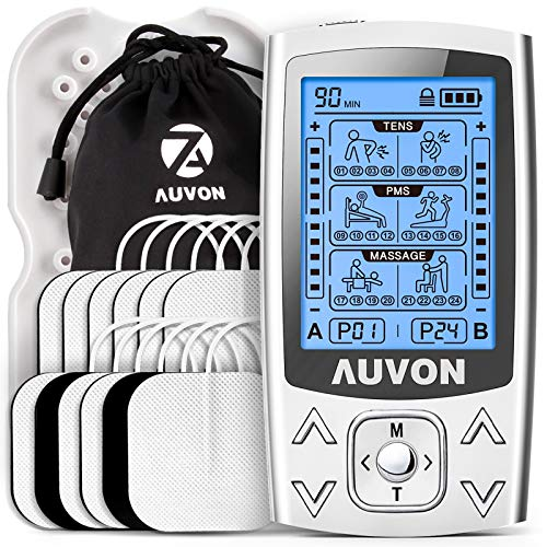 AUVON Dual Channel TENS EMS Unit 24 Modes Muscle Stimulator for Pain Relief & Muscle Strength for Tired and Sore Muscles in Your Shoulders, Back, Ab