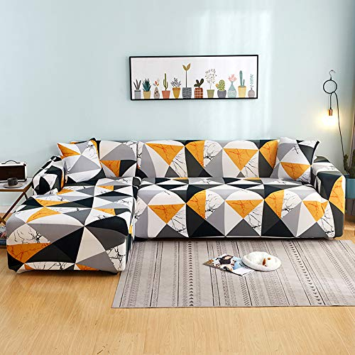 Mingfuxin L-Shaped Sofa Slipcovers, 2PCS Jacquard Polyester Fabric Stretch Sofa Covers Furniture Protectors + 2 Pillow Covers for L Shape Sectional Sofa Couch (L-Shaped 3+3 Seats, Printed #11)