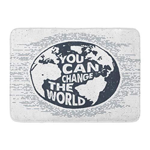 NALLK-7A Fußmatten Bad Teppiche Fußmatte Hand inspirierende Label Erde und Sie können die Welt Schriftzug Globus gezeichnet 15,8