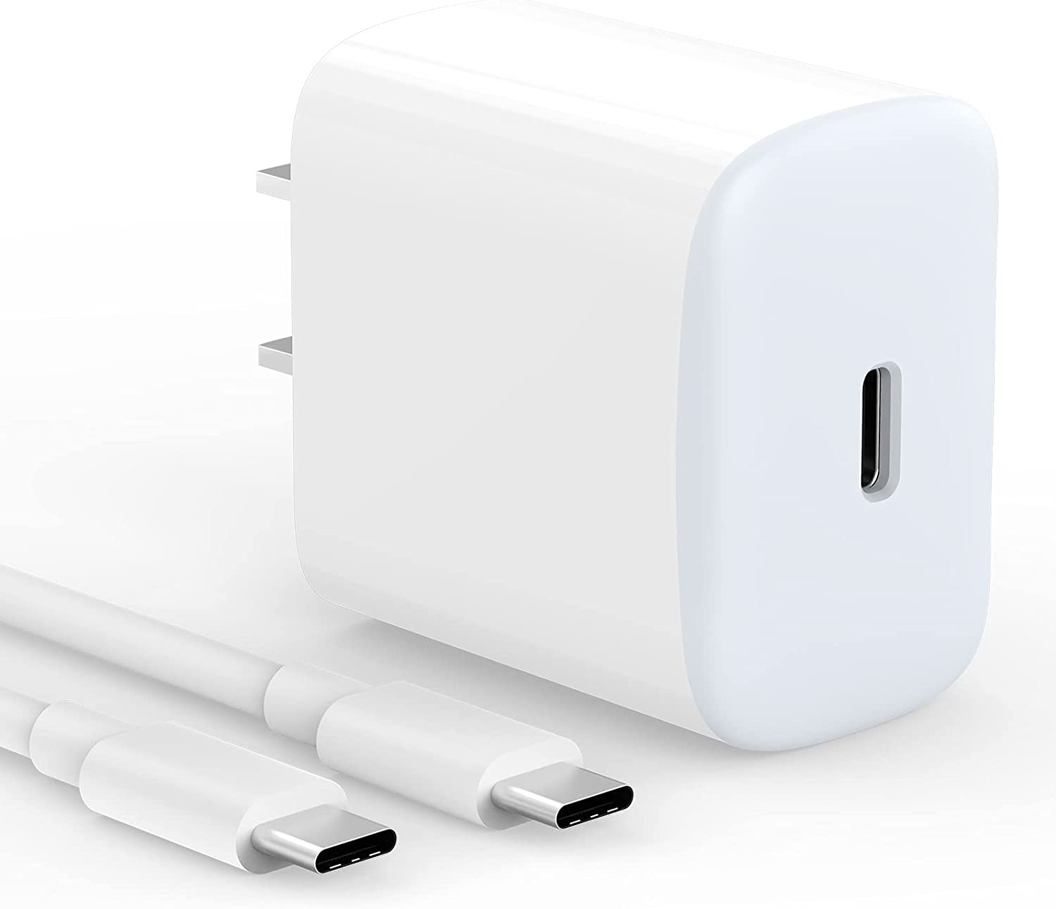 20W USB C Fast Wall Charger Compatible with iPad Pro 12.9/11 inch 2021/2020/ 2018, iPad Air 10.9 inch 4th Gen and Google Pixel Cellphone. 6.6 ft USB C-C Cable Included