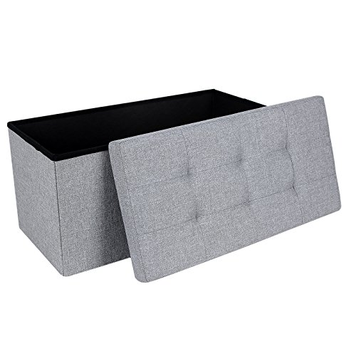 SONGMICS Storage Ottoman, Padded Foldable Bench, Chest with Lid, 80L Capacity, Holds up to 300 kg, for Bedroom, Hallway, Living Room, Light Grey LSF84GYX