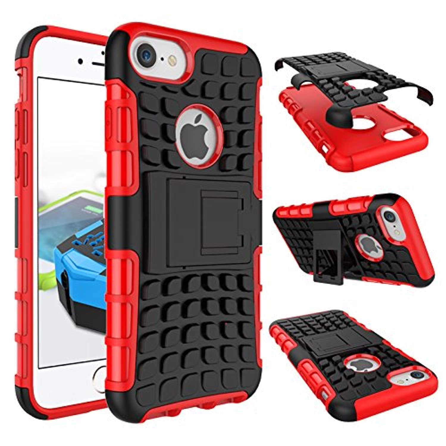 iPhone 8 Case, iPhone 7 Case, KAWOO Case w/ [iPhone 7 Screen Protector] Dual Layer 2 in 1 Rugged Rubber Hybrid Protective Armor Case with Kickstand for iPhone 7/8 - Red Armor Case
