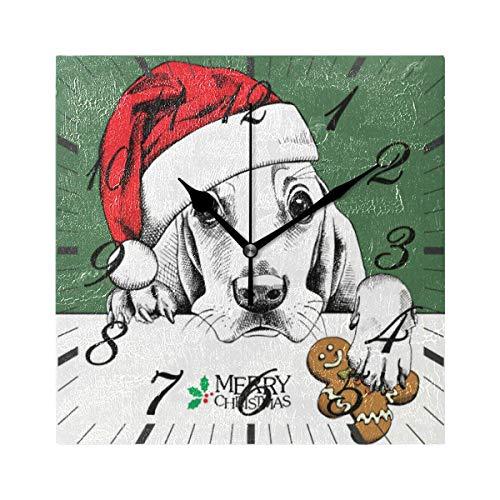 Reloj de Pared Moderno,Feliz Navidad Cachorro Perro Santa Sombrero Copo De Nieve Muñeco De Nieve,Grandes Decorativos Silencioso Reloj de Cuarzo de Redondo No-Ticking para Sala de Estar,25cm diámetro