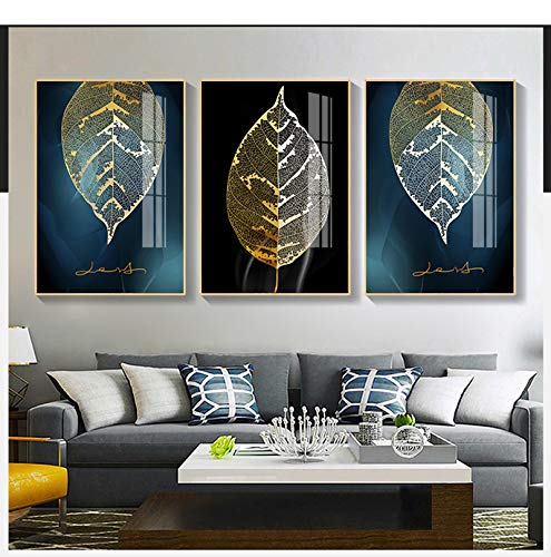 "Sungup Black and Gold Plant Painting Leaf Poster Print Minimalist Canvas Painting Wall Art for Living Room Modern Decor No Frame 20""x28""(50x70cm)×3"