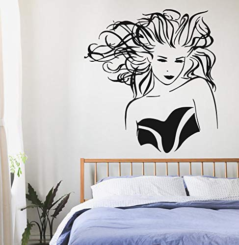 Tianpengyuanshuai Haar Vinyl Wandtattoo Haar Beauty Salon Wandaufkleber Beauty Shop Dekoration Haar Salon Wandkunst-50X54cm
