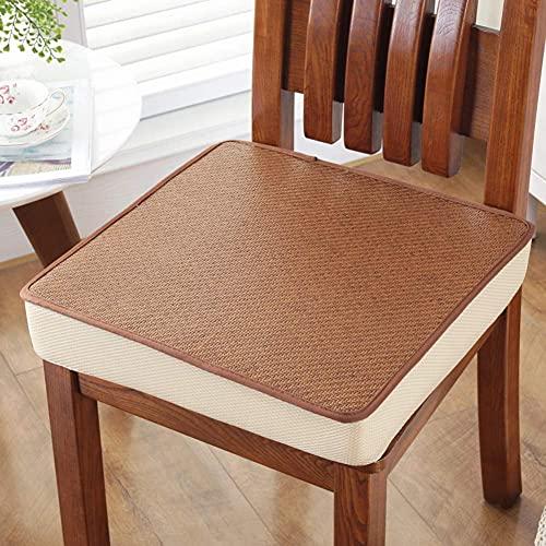 DIELUNY Cojines de silla gruesos, cojín de asiento de esponja de verano para oficina estudiante Premium antideslizante decoración del hogar cojines de asiento de coche marrón 50 x 50 x 3 cm
