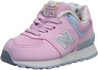 New Balance Girls 574v1 Lace-Up Sneaker, Crystal Rose/Su, 12 R W US Toddler (1-4 Years)