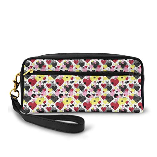 Pencil Case Pen Bag Pouch Stationary,Greyscale Polka Dotted Pattern with Valentines Day Themed Love Symbols and Flowers,Small Makeup Bag Coin Purse