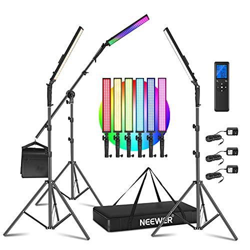 Neewer 2.4G RGB LED Light Stick, 3-Pack Photography Lighting...
