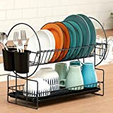 Dish Drying Rack, 2 Tier Kitchen Dish Rack and Drainboard/Cutlery Cup (Dark Gray)