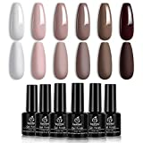 Beetles Gel Nail Polish Set, Coffee Cafe Collection Brown Neutral Beige Mauve Color Perfect for Autumn and Winter Nail Art Manicure Kit Soak Off LED Gel, 7.3ml Each Bottle Christmas Gifts Set