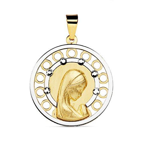 Iyé Biyé Jewels Medalla comunión Virgen niña 18 mm Oro Bicolor 18 ktes Cerco Oro Blanco circonitas Grabado Incluido