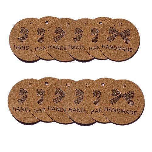 100X Toruiwa Kraftpapier Geschenk Tags Handmade Runden Hängen Etiketten Geschenkanhänger Anhänger Etiketten 4.3cm Braun