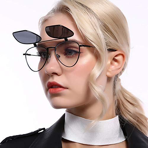 MGWA Gafas de sol Clásico Negro Polarizadas Gafas de Sol Personalidad Flip Metal Medio Marco Doble Lente Protección UV400