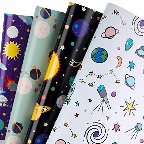 RUSPEPA Geschenkpapierblätter - Weltraum-Design Perfekt Für Urlaub, Geburtstag, Glückwunsch, Party, Babyparty-Geschenke - 4 Gefaltete Blätter - 50 cm X 70 cm