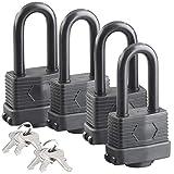 AGT Vorhängeschlösser: 4er-Set Vorhänge-Schlösser mit XXL-Bügeln und 6 Schlüsseln (Schlüssel-Vorhänge-Schloss)