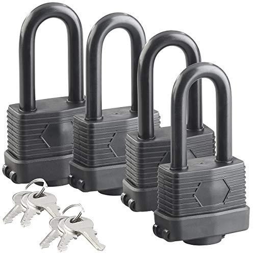 AGT Vorhängeschlösser: 4er-Set Vorhänge-Schlösser mit XXL-Bügeln und 6 Schlüsseln (Vorhängeschloss mit Schlüssel)