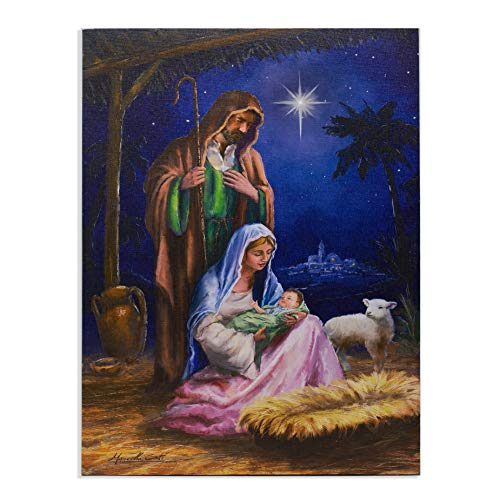 Nativity Canvas Wall Art - Light Up Religious Picture LED Lighted Mary Joseph and Baby Jesus in a Manger Stable Scene Painting Like Print - Ready to Hang