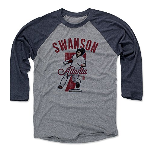 500 LEVEL Dansby Swanson Tee Shirt (Baseball Tee, Small, Navy/Heather Gray) - Atlanta Raglan Tee - Dansby Swanson Arch R