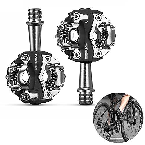Pedal MTB Pedales Bicicleta Montaña Pedales de Ciclismo Pedal SPD de Doble Plataforma con Autobloqueo Pedales Ciclismo Montaña Multiusos Rosca 9/16'para Bicicleta BMX MTB Spin Trekking (Negro)