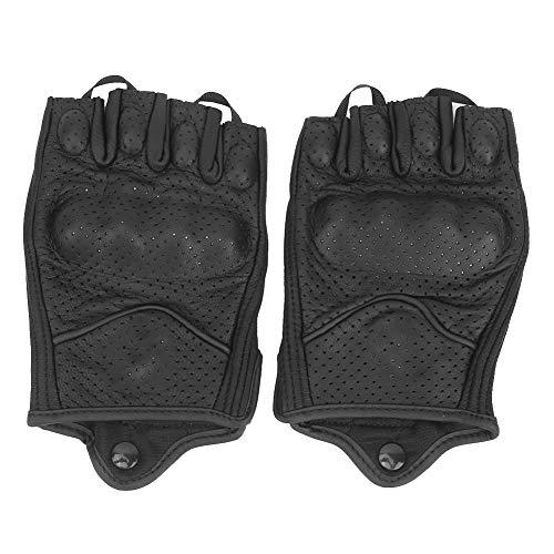 Motorradhandschuhe,Yctze Halbfinger Motorradhandschuhe Leder Atmungsaktiv Anti Rutsch Schutz Reiten Radfahren Handbekleidung(L)