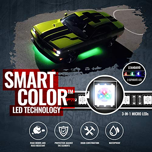 OPT7 Aura Pro Underglow for Car Aluminum, Bluetooth APP Control LED exterior underbody Lighting Kit, Neon Accent Bar Strip,16 Million Color, Waterproof, Soundsync, Door Assist, iOS/Android Enable, 4pc