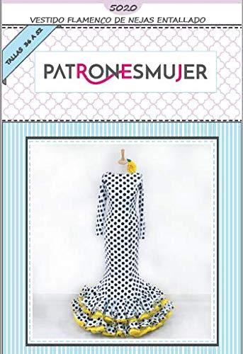 Patrón de costura vestido flamenca Nejas mujer entallado para hacerlo tú misma. Tutorial en vídeo para ayudarte a realizarlo. Talla 36 a la 52. Patrón multitalla en papel.