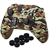 YoRHa Water Transfer Printing Camouflage Silicone Cover Skin Case for Microsoft Xbox One X & Xbox One S Controller x 1(Desert) with PRO Thumb Grips x 8