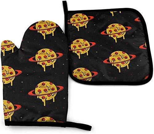 AOOEDM Melt Pizza Planets Ofenhandschuhe und Topflappen-Set, hitzebeständiger...