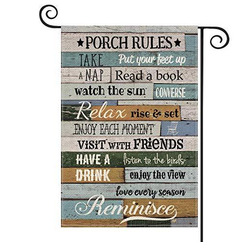 Porch Rules - Bandera de madera para jardín (vertical, tamaño doble, para disfrutar de la vista, patio, decoración al aire libre, 30 x 45 cm)