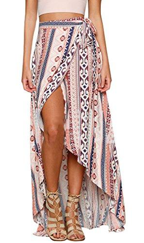 Maxirock Sommer Chiffon Asymmetrische Boho Röcke mit Blumenmuster Damen hohe Taille ethnischen Schlitz Wickelrock Strand Bikini Cover Up