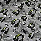 Jersey Stoffe Love Music Kopfhörer grau 0,50m x VB