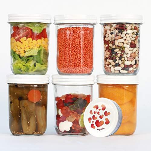 megusta!® 6er Set Einmachgläser 480 ml + 12 Etiketten, klares Glas mit Deckel in Herz-Design, als Einweckgläser, zum Backen, auch für Hundeleckerli, Fischfutter Aquarium, Katzenminze, Vogelfutter