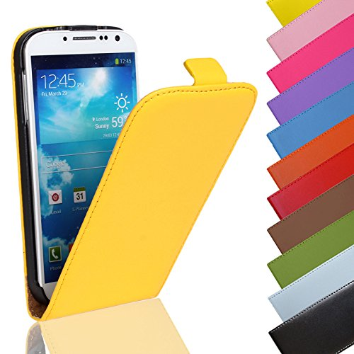 Eximmobile - Flip Hülle Handytasche für Huawei Ascend P6 in Gelb   Kunstledertasche Huawei Ascend P6 Handyhülle   Schutzhülle aus Kunstleder   Cover Tasche   Etui Hülle in Kunstleder