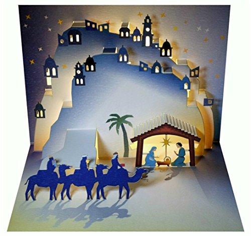 FOREVER WE Pop Up 3D Karte Weihnachten Grußkarte Weihnachtskrippe DREI heilige Könige 16x11cm