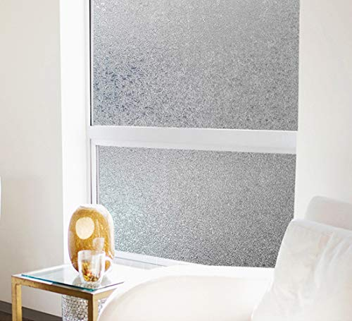 Coavas Privacy Window Film No Glue Static Film Heat Control Anti UV Crystal Pattern Film Glass Film for Living Room/Bedroom/Restroom/Bathroom/Kid's Room 17.7x78.7 inches