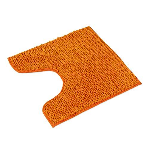 WohnDirect Tapis de Bain Orange • Sets modulables • Antidérapant, Absorbant et Doux• Découpe WC, 45x45cm