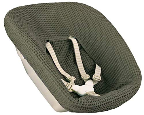 Ukje-Fodera per Seggiolone Pappa modello Stokke Tripp Trapp Newborn Set di 1 Fodera Schienale Tessuto Velluto Comodo e Facile da Pulire Imbottitura Cuscini in Cotone Oeko tex Verde