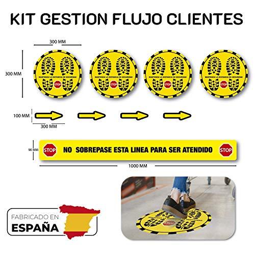 Kit Pegatinas Distancia de Seguridad (Circulares), con protección antideslizante, validas para el suelo. Super Resistente VINILO ANTIDESLIZANTE CON CERTIFICADO DIN 51130 CLASE R9 DE 200µ